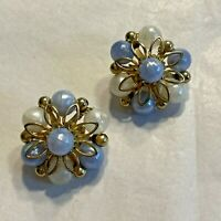 Vintage Coro Clip On Earrings Beaded Clusters Gold Tone Blue & White Flowers