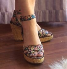 Marc Jacobs Floral Print Wedges Woven  Wicker Platform Straps Shoes Euro Size 38
