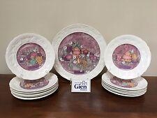 Gien LES DELICES Cake Plate & Dessert Plates ~ Set of 12 ~ France