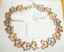 14K Hawaiian Plumeria Flower Rainbow Gold 9.5g Bracelet