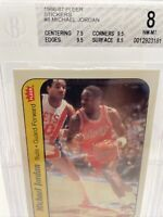 🔥 Michael Jordan Rookie Card 1986-87 Fleer Sticker #8 BGS 8 (TWO 9.5s) Read !!