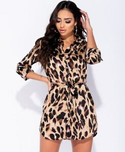 Ladies Glamour Leopard Print Tie Waist Shirt Dress BNWT UK Size 8