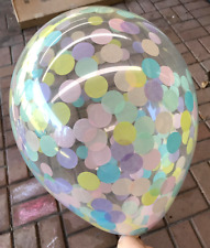 3 x CONFETTI BALLOONS CLEAR Pastel Tissue Rainbow Unicorn Baby Shower Decoration