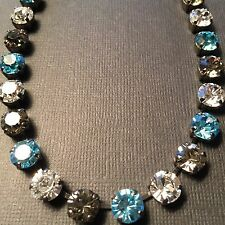 Necklace Classic ❤ Aquamarine, Black Diamond With Swarovski Crystals Silver