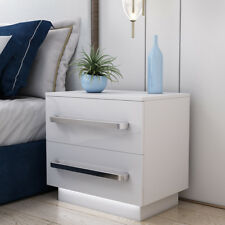 White Bedside Cabinet Table High Gloss Chest of Drawer FREE LED Light Nightstand