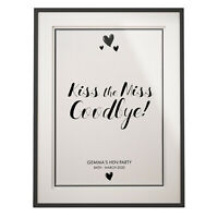 Personalised Kiss the Miss Goodbye | A4 Print | Poster Hen Party Accessories