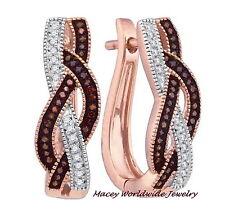 Brandy Diamond® Chocolate Brown 10K Rose Gold Elegant Braided Earrings