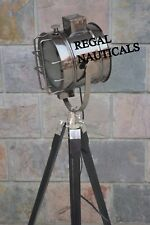NAUTICAL SEARCH LIGHT SPOT LAMP LIGHT WITH BLACK TRIPOD STAND HOME DECOR