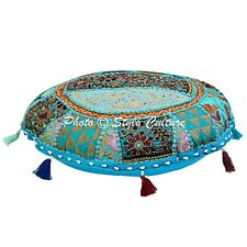 """Decorative ROUND INDIAN FLOOR CUSHION COVER 18"""" POUF SEATING COVER Ethnic Tuffet"""