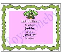 Cabbage Patch Kids doll Replacement Birth Certificate Adoption Papers *You Name*