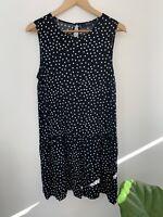 DECJUBA Black & White Dot Midi Flowy Dress Sleeveless 12 M Medium