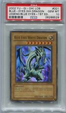 Yugioh Card 1st Edition Blue-Eyes White Dragon LOB-001, PSA 10 Gem Mint