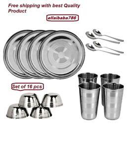 Modern- Stainless Steel Heavy Dinner Set of 16 Pcs