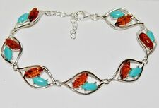 STERLING SILVER (925) REAL AMBER & TURQUOISE LADIES BRACELET ~