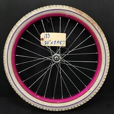 """Complete 20"""" Front Magenta Bicycle Wheel W/ 1.95"""" White Tire - Bmx Bike #i33"""