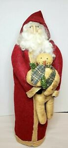 Arnett's Country Store Santa Holding Snowman Early Unsigned 1970s