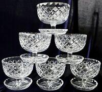 Vintage retro crystal dessert bowls diamond shape pattern