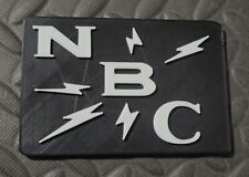 Reproduction Vintage NBC Microphone Stand Flag Call Letters Antique Logo 3D