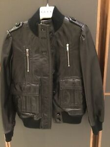 GUCCI Kids Unisex Leather Jacket Black Size EU 6
