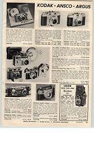 1959 PAPER AD Ansco Super Memar Camera New Argus Match Matic C-3 Keystone Movie