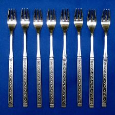 Oneida Rogers SPANISH COURT 8 Seafood Forks Black Handle Scrolls Vintage Japan