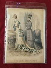 Vintage Set Of 2 French Print Picture Frank Leslie's Lady's Magazine