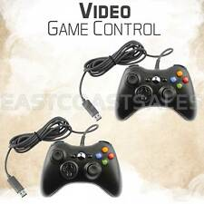 2x For Microsoft Xbox 360 & Windows PC USB Wired Video Game Controller Pad Black