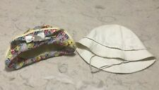 Vintage pair of infant baby hats or large doll hats white and yellow floral sun