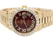 18K Mens Yellow Gold Rolex President Day-Date 36MM Prong Set Diamond Watch 5.5 C