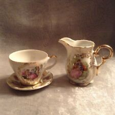 Vintage Fine China Demi Cup Saucer and Milk Jug 4920