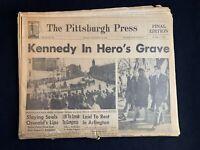 """Vintage 1963 Pittsburgh Press """"Kennedy in Hero's Grave"""" Newspaper JFK"""