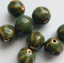 8 Glazed Ceramic Round Beads, Green/Blue 15 mm. Jewellery Making/Beading/Crafts