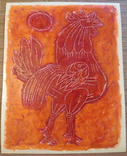Rare LIONEL KALISH Mid Century ROOSTER Mixed Media Scratchboard Serigraph 1950s