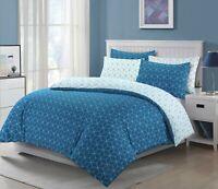 NightComfort Teal & White Geometric Design Duvet Cover Set With Pillowcases