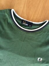 Genuine Green Fred Perry T Shirt Size XS Blue White Trim
