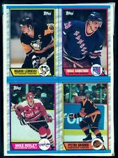1989 TOPPS Hockey Mario Lemieux Sandstrom EX-NM BOX BOTTOM 4 CARD UNCUT PANEL