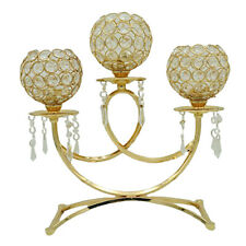 Gold Rhinestones Mosaic Candle Holder Candlestick Stand Decorative Home Wedding
