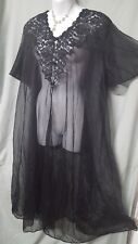 ABOVE THE ANKLE SEXY  SHEAR BLACK  NYLON ROBE WOMENS SIZE  2X