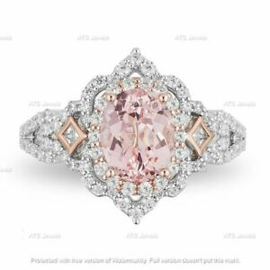 0.75 CT Oval Cut Morganite /& Diamond Vintage Engagement Ring 14K White Gold Over