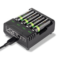 Venom Power High Capacity Rechargeable AAA / AA Batteries and Charging Dock