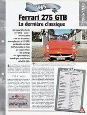 VOITURE FERRARI 275 GTB FICHE TECHNIQUE AUTOMOBILE 1965 COLLECTION CAR FRANCE