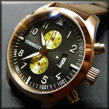 CORGEUT (Parnis) Aviator chronograph qtz:50mm:316L stainless:Big pilot:PVD gold