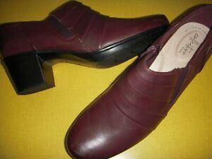 Clarks Emslie Guide Ruched Leather Block Heel Shooties Boots Women 11 M Wine 11M