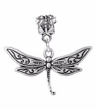 Dragonfly Dragon Fly Insect Bug Garden Floral Dangle Charm for European Bracelet