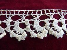 DRG10 Ancien galon dentelle coton crochet fin 4x560cm  Old crocheted lace braid