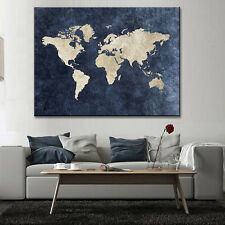 Abstract Blue World Map Canvas Print Large Modern Global Map Painting Wall Art