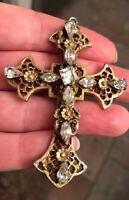 Antique Vintage Deco Fancy Large Cross Pendant Sparkling Rhinestones