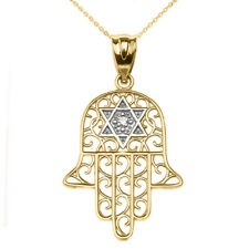 Solid  Gold Hamsa Hand With Star Of David  Pendant Necklace Yellow/White/Rose