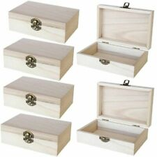 Unfinished Wooden Jewelry Box - 6-Pack Wood Jewelry Boxes with Locking Clasp
