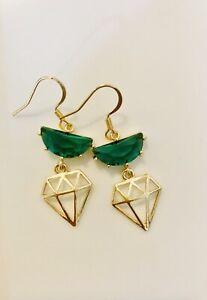 Green Glass Artistic Earrings, Luxury, High Qua, Sensitive Ear, Cute, Kawaii